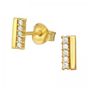 Studs-Örhängen -18k guldplätering med vita kristaller