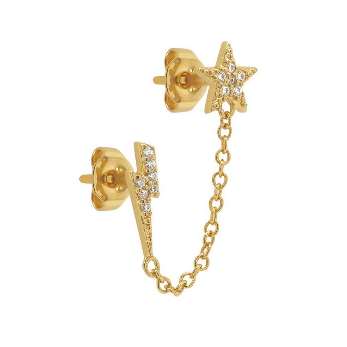 Örhängen - Stjärna och blixt med kedja - Ear studs i guldpläterat äkta silver