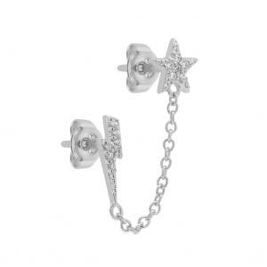 Örhängen - Stjärna och blixt med kedja - Ear studs i äkta silver