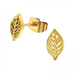 Stiftörhängen - 24k-guldplätering  - Löv