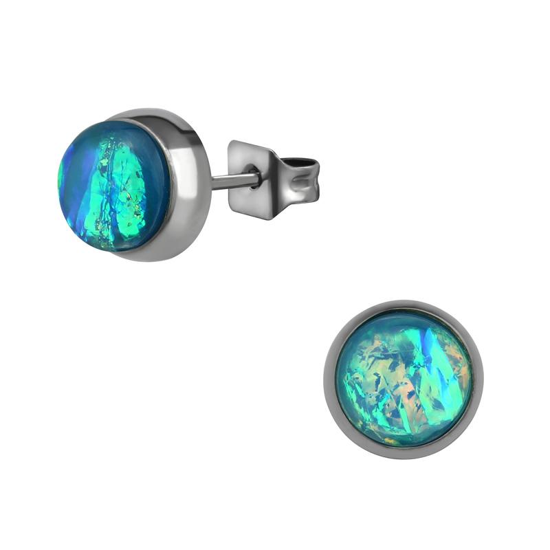 Stiftörhängen - Studs i Kirurgiskt stål - Blå opalit
