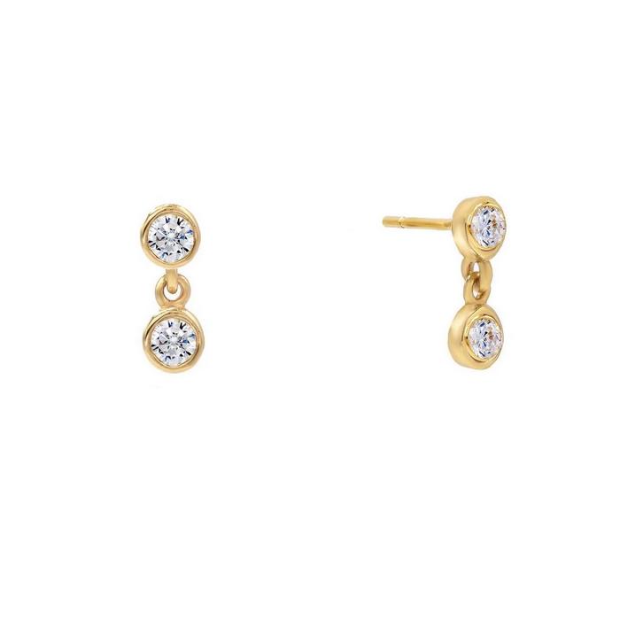 Guldörhängen - Kedja med vita kristaller - 18k guldplätering