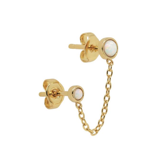 Örhängen - Vita opaliter med kedja - Ear studs i guldpläterat äkta silver