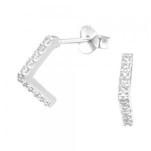 Studs - Örhängen i äkta silver - Semi hoops med kristaller