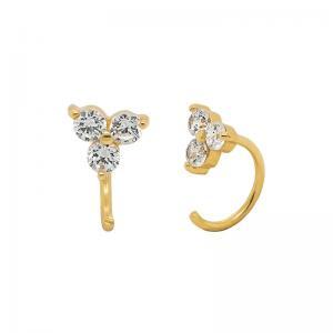 Ear Huggies - Hoops örhängen med tre kristaller