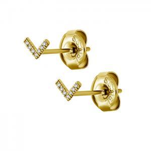 Stiftörhängen - Venus - guldig kirurgiskt stål - vita kristaller