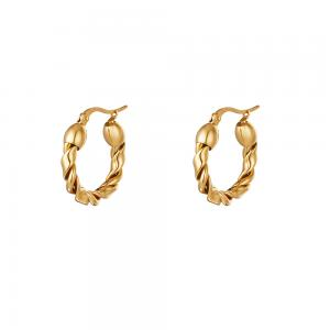Creoler örhängen - 18k-guldplätering - Hoops i tvinnad bred design