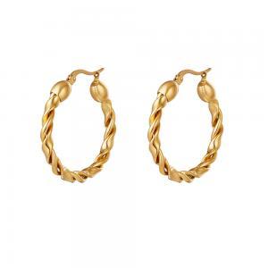 Stora creoler örhängen - 18k-guldplätering - Hoops i tvinnad bred design