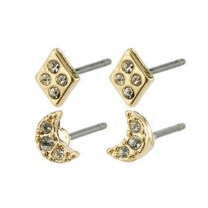 2 par örhängen - Pilgrim Lucille - Studs i guld med vit kristall