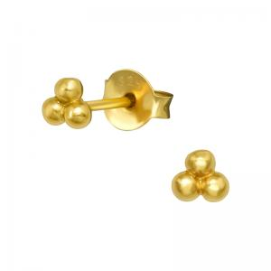 Stiftörhängen - Guld - Tre kulor