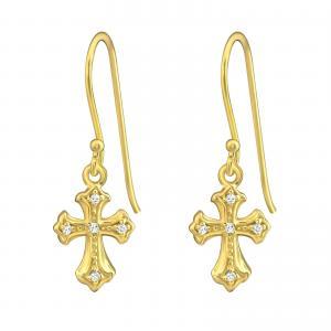 Örhängen - Hängande kors - Guldpläterat