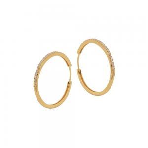 Stora Hoops - Creoler Ringar med kristaller - Guld