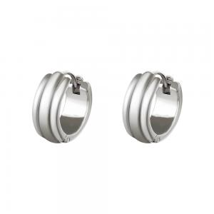 Huggie örhängen - Creoler ringar i kirurgiskt stål - Bred silvrig design