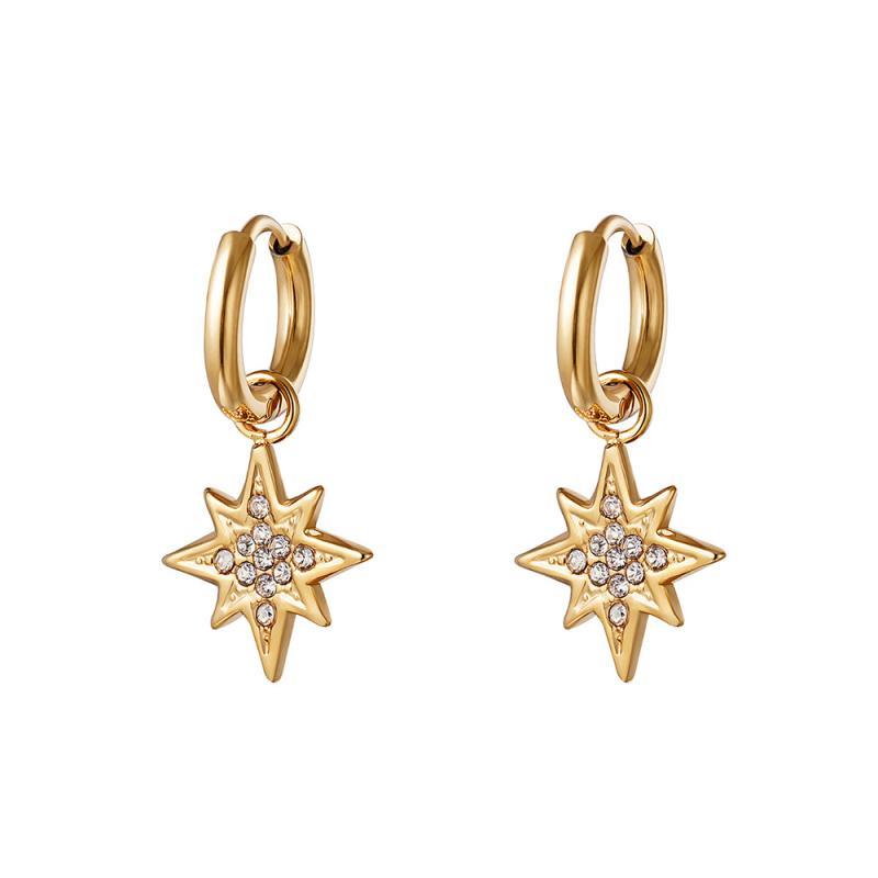 Huggie örhängen - Stjärna guld - Ringar i kirurgiskt stål med hängsmycke
