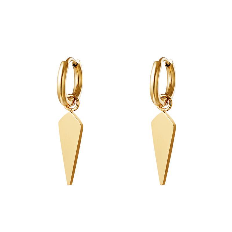 Huggie örhängen - Teardrop guld - Ringar i kirurgiskt stål med hängsmycke
