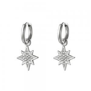 Huggie örhängen - Stjärna - Ringar i silvrigt kirurgiskt stål med hängsmycke