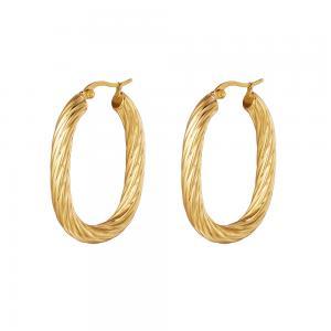 Stora hoops - Ovala creoler örhängen - Guld - Tvinnad bred design
