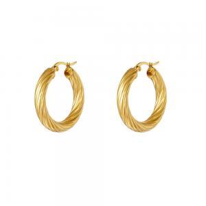 Stora hoops - Creoler örhängen - Guld - Tvinnad bred design