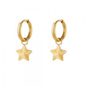 Huggie örhängen - Ringar i 18k-guldpläterat kirurgiskt stål - Stjärnor
