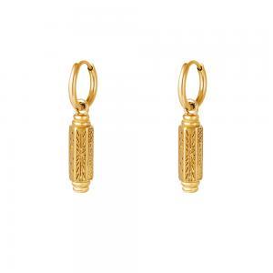 Huggie örhängen - Ringar i 18k-guldpläterat kirurgiskt stål - Hängsmycke