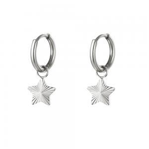Huggie örhängen - Creoler i silvrigt kirurgiskt stål - Stjärnor