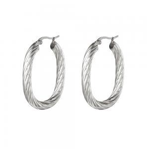 Stora hoops - Ovala creoler örhängen - Silvrig bred design