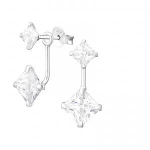 Örhängen Studs - Ear Jackets - Fyrkantiga Kristaller