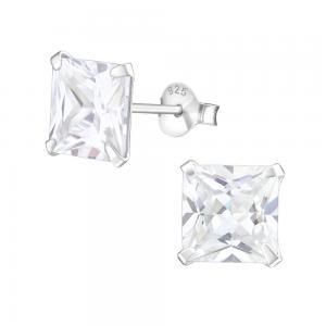 8 mm fyrkantig kristall - Stora kristallörhängen - Studs i äkta silver