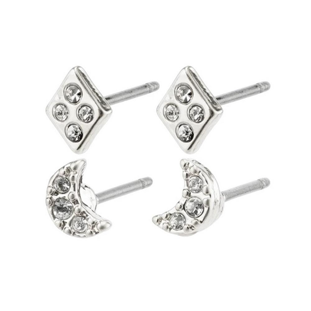 2 par örhängen - Pilgrim Lucille - Studs i silver med vit kristall