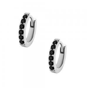 Huggie Hoops - 7 mm Creoler Ringar i kirurgiskt stål med svart kristall