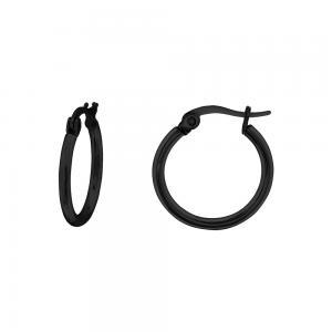 Släta svarta hoops - Örhängen i kirurgiskt stål - Creoler