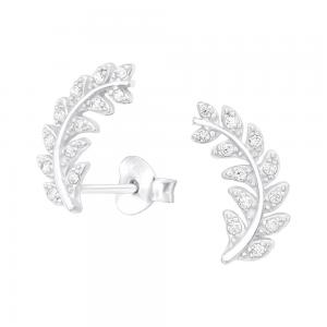 Kvist med kristaller - Studs - Örhängen i äkta silver