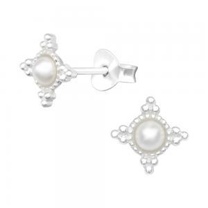 Stjärnor med pärlor - Studs - Örhängen i äkta silver
