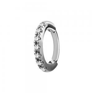 Oval Rook Clicker - Ring i kirurgiskt Stål - Vita Kristaller