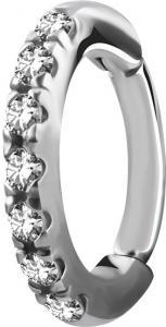 Rook Clicker - Ring i kirurgiskt Stål - Swarovski Kristaller