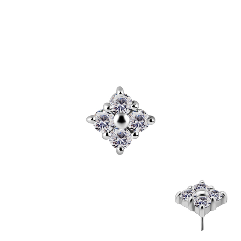 Cluster - Push fit topp - Threadless piercingsmycke med vita kristaller