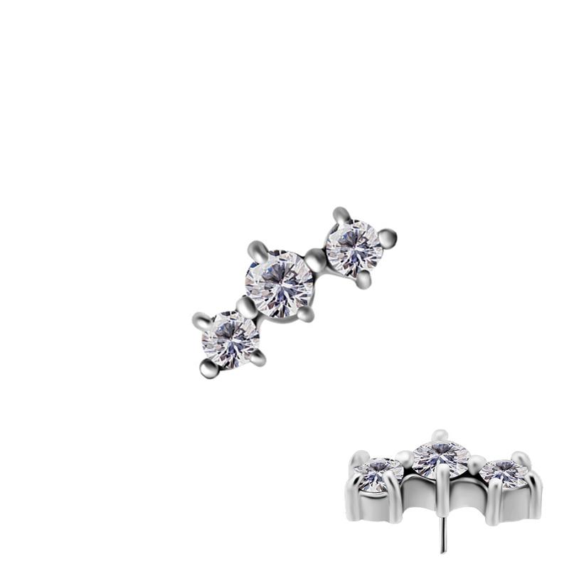 Båge med kristaller - Push fit topp - Threadless piercingsmycke
