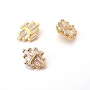 Piercingsmycke - PVD Guld - Vita Swarovski kristaller