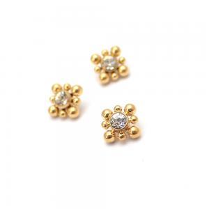Bali topp - Piercingsmycke  - PVD Guld - Vita Swarovski kristaller