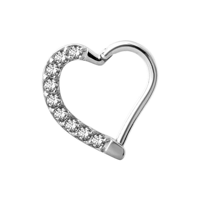 Daith hjärta - Piercingsmycke med vita kristaller