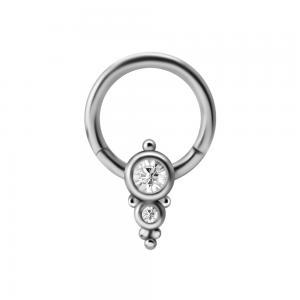 Clicker Ring i kirurgiskt stål - Ornament med Kristaller