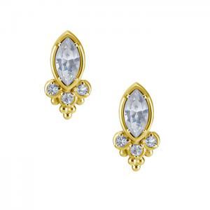 Kristallörhängen - 24k guldpläterat äkta silver - Studs