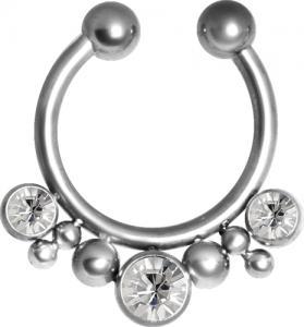 Fake septum smycke med tre stycken vita kristaller längst ned.