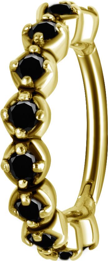 Clicker Ring - Golden Steel - svarta kristaller