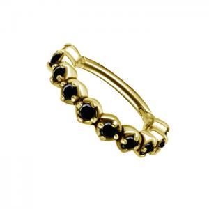 Clicker Ring - Guld - Svarta kristaller