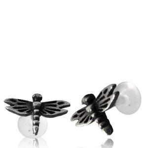 Labret med topp i äkta Silver, Dragonfly