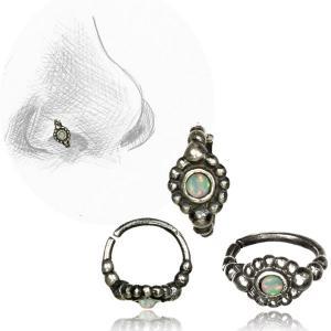 Näsring i Äkta Silver, vit opal