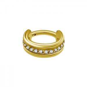 Guldring - Vita kristaller - Bred ring