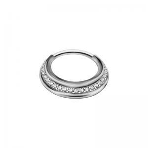 Septumsmycke - Silvrig ring med kristaller
