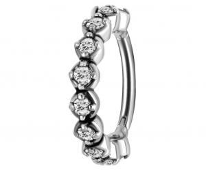 Ring till piercing - Clicker med Vit Kristall